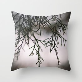 Sparkling Raindrops Dripping off Pine Throw Pillow
