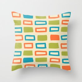 Mid Century Modern Abstract Squares Pattern 742 Olive Orange and Turquoise Throw Pillow