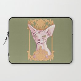 Royal Hairless Sphynx Cat in a Gold Baroque Frame - Green Background Laptop Sleeve