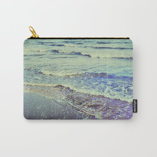 Retro beach. Summer Waves Carry-All Pouch
