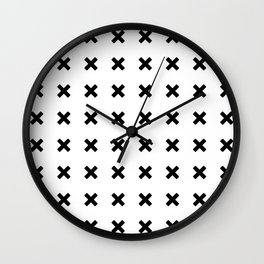BLACK CROSS ON WHITE BACKGROUND Wall Clock