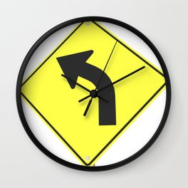 """""""Curve"""" - 3d illustration of yellow roadsign isolated on white background Wall Clock"""