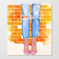 Boyfriend Jeans & Valentino. Canvas Print