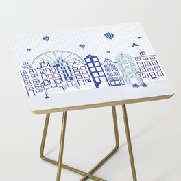 Dutch canal houses from Amsterdam in delft blue Side Table