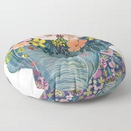 Elephant with flowers on head Floor Pillow