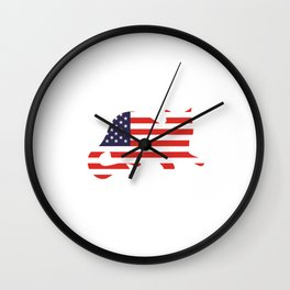 Proud to be Ameowican Funny Patriotic T-shirt Wall Clock