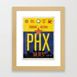 Vintage Phoenix Luggage Tag Poster Framed Art Print