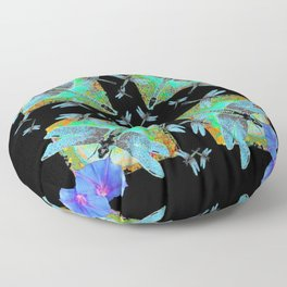 BLUE DRAGONFLIES MORNING GLORY BLACK ABSTRACT Floor Pillow