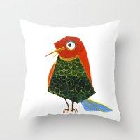 birdy Throw Pillows featuring Birdy by KristinaVardazaryan