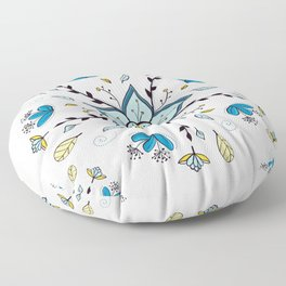 Mandala Autumn  Blue feather By Sonia H. Floor Pillow