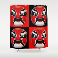 chinese Shower Curtains featuring Chinese Mask by Ron Trickett