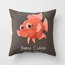 Parrot Cichlid Fish Throw Pillow