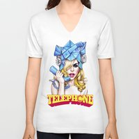 telephone V-neck T-shirts featuring Telephone by Denda Reloaded