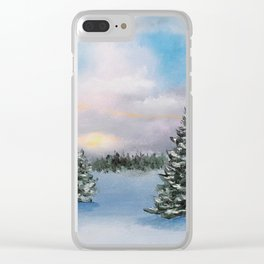 Sunset Winter Snow Clear iPhone Case