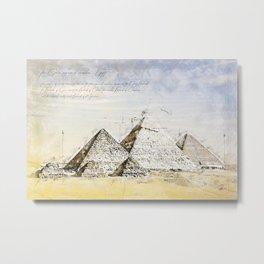 Pyramides of Giza, Cairo Egypt Metal Print
