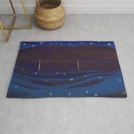 Starlight Night, Lake George, New York landscape painting by Georgia O'Keeffe Rug