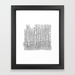 Birch Trees Black and White Illustration Framed Art Print