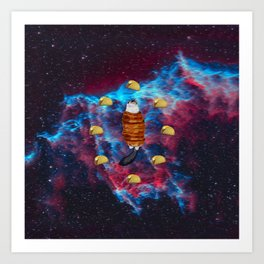 Cat Bacon and Taco Space Art Print