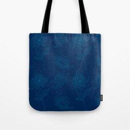 Ocean Blue Dahlia Flowers Tote Bag