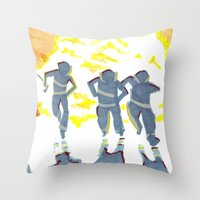 heroes Throw Pillows featuring Heroes by SquidInkDesigns