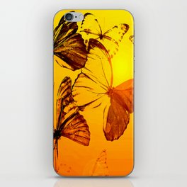 Fly fly butterfly! - Butterflies on a orange background with sunlight #society6 #buyart iPhone Skin