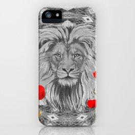 Lion Geometric Floral Contrast Print iPhone Case