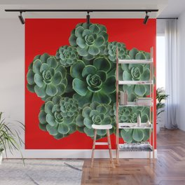 CHINESE  RED ART JADE GREEN SUCCULENTS Wall Mural