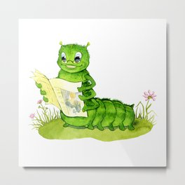 Clever caterpillar reading a popular magazine Metal Print