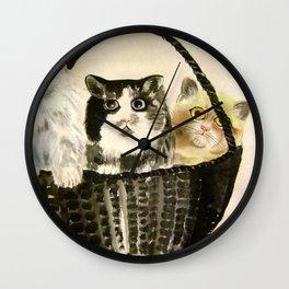 three kittens Wall Clock