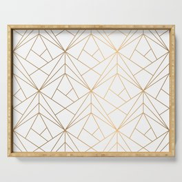 Geometric Gold Pattern With White Shimmer Serving Tray