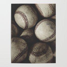Grungy Baseballs on a Shelf Poster