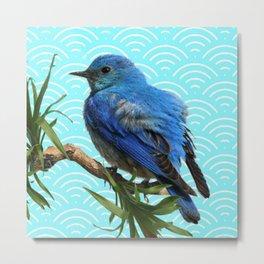 AQUA SPRING BLUE BIRD ART Metal Print