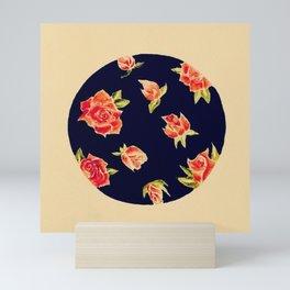 Rosebuds Blooming Circular Watercolor Painting — Rosebuds in Stages of Bloom Circular Design Mini Art Print