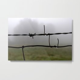 Fog and Fence Metal Print