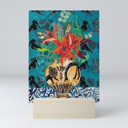 Amphitrite: Orange Lily and Wildflower Bouquet in Lion and Giraffe Urn on Emerald Matisse Inspired Wallpaper Mini Art Print