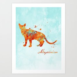 Abyssinian Cat Watercolor Orange Light Blue Abstract Art Print