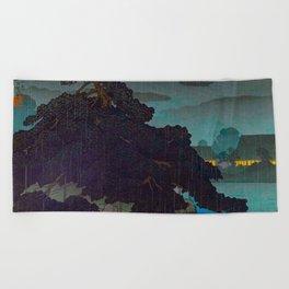 Vintage Japanese Woodblock Print Raining Landscape Tree On Rock Leaning Into The Lake Comforting Nig Beach Towel