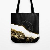 snowboarding Tote Bags featuring Golden Mountain by Schwebewesen • Romina Lutz