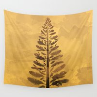 arya Wall Tapestries featuring Feather Tree in warm colours by Hinal Arya
