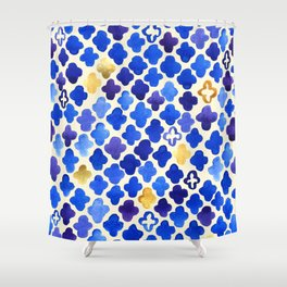 Rustic Watercolor Moroccan in Royal Blue & Gold Shower Curtain