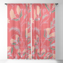Suzani-inspired blooms on red Sheer Curtain