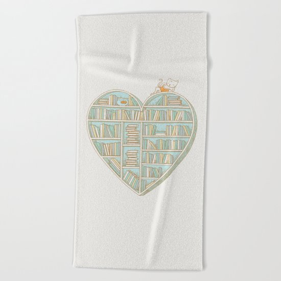 I Heart Books Beach Towel