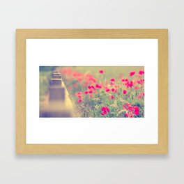 Looking Down the Fence of the Poppy Field. Framed Art Print