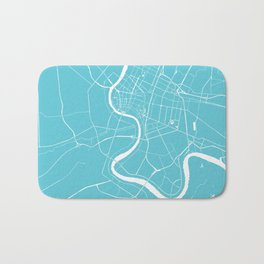 Bangkok Thailand Minimal Street Map - Turquoise and White Bath Mat
