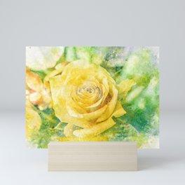 Yellow Rose In Pastel Watercolour Mini Art Print