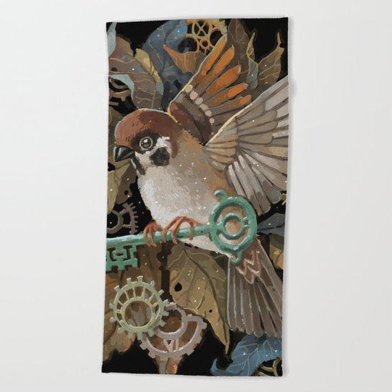Clockwork Sparrow Beach Towel