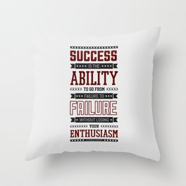 Lab No.4 Success is the ability Sir Winston Churchill Inspirational Quotes Throw Pillow