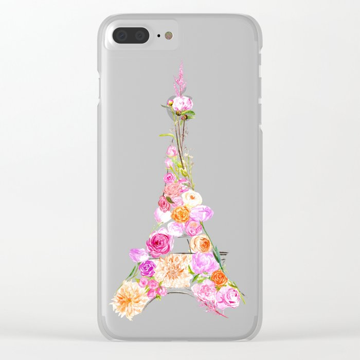 Flowers Eiffel Tower Clear iPhone Case