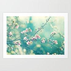 Turquoise Teal Pink Floral Photography, Aqua Flower Nature Art Art Print