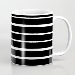 Rough White Thin Stripes on Black Coffee Mug